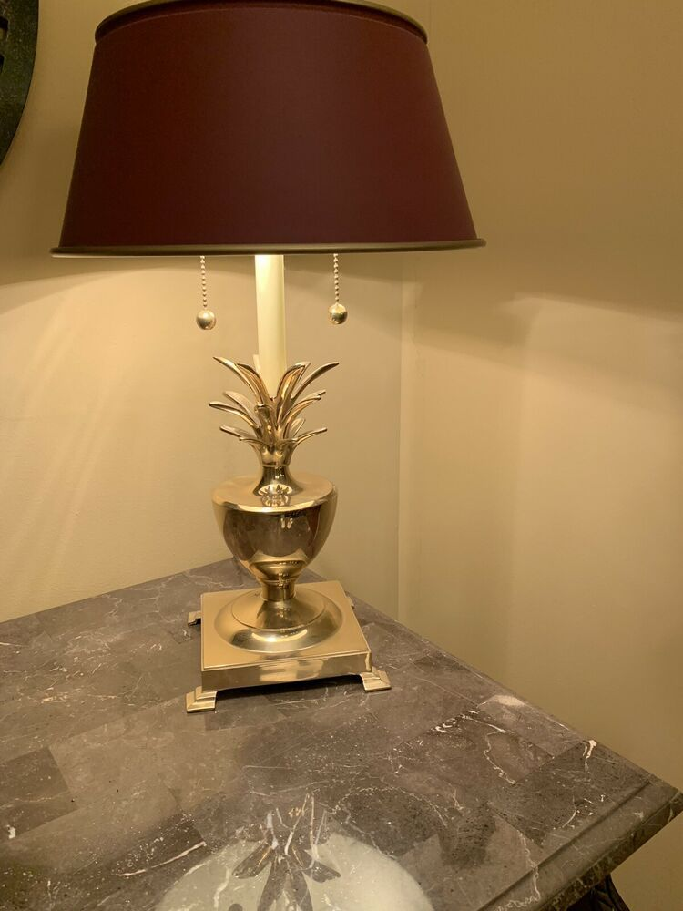 VINTAGE BOMBAY BRASS PINEAPPLE TABLE LAMP DUAL ARMS TOLE