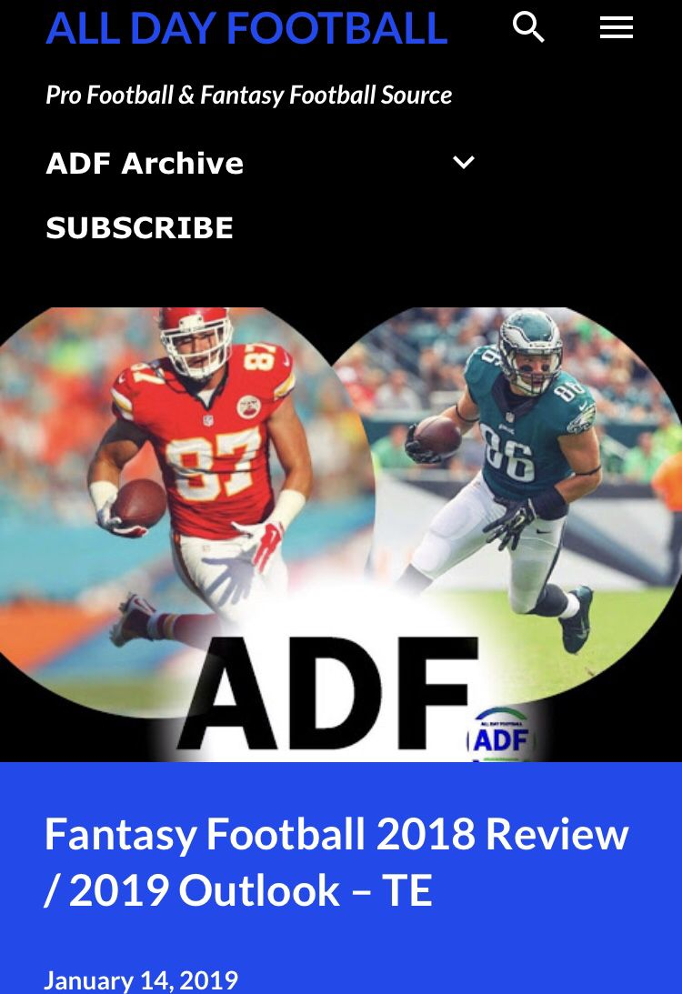 Just Released Fantasy Football 2018 Review 2019 Outlook Te