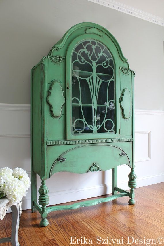 CUSTOM FINISH for Anh - Antique Jacobean Hand Painted Cottage Chic Shabby  Cupboard China Hutch Display Cabinet Antique Green Finish - SOLD!!! CUSTOM FINISH For Anh - Antique Jacobean Hand Painted