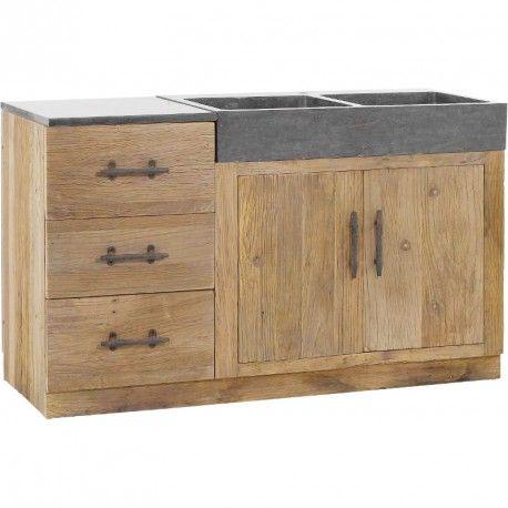 Meuble de cuisine avec éviers 144x56,5x83,5cm COMBLOUX - Hanjel