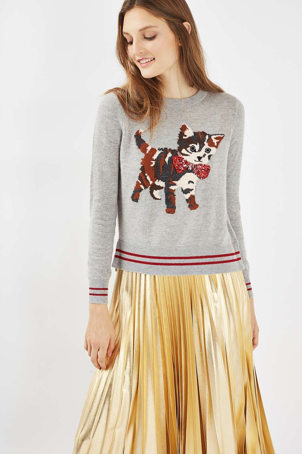 Embellished Cat Motif Jumper - Knitwear - Clothing - Topshop Europe