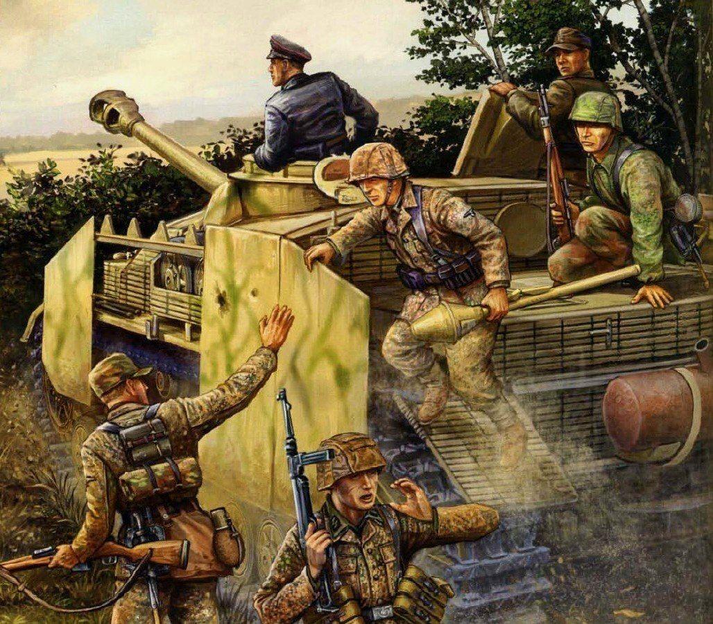 Granaderos de las Waffen SS saltando de lo que supongo un Stug III