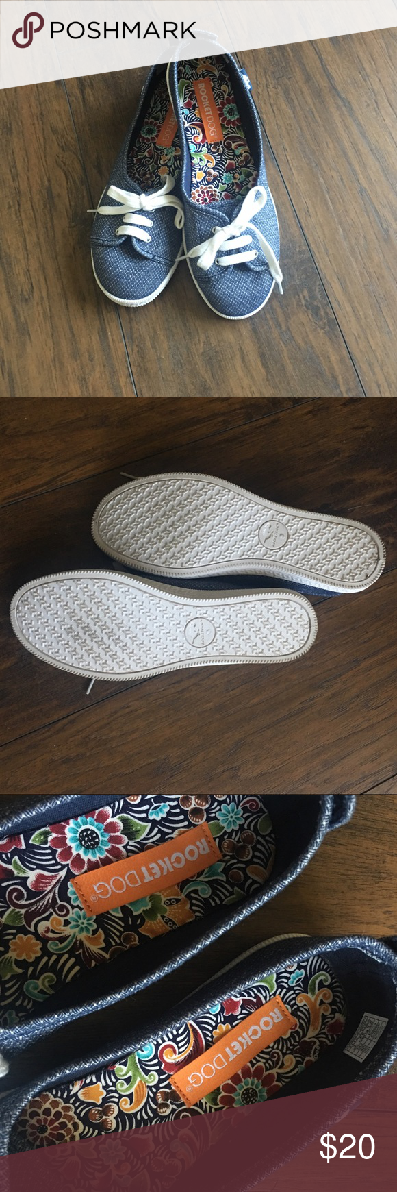 EUC Rocketdog sneaker flats Sz 8.5 Super adorable sneaker flats by RocketDog in women's size 8.5. Minimal signs of wear, cute Denim inspired fabric with mini lace-u detail perfect for springThanks for looking  make me an offer! Rocket Dog Shoes Flats & Loafers