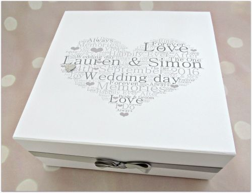 Extra Large Personalised Wedding Day Keepsake Memory Box With