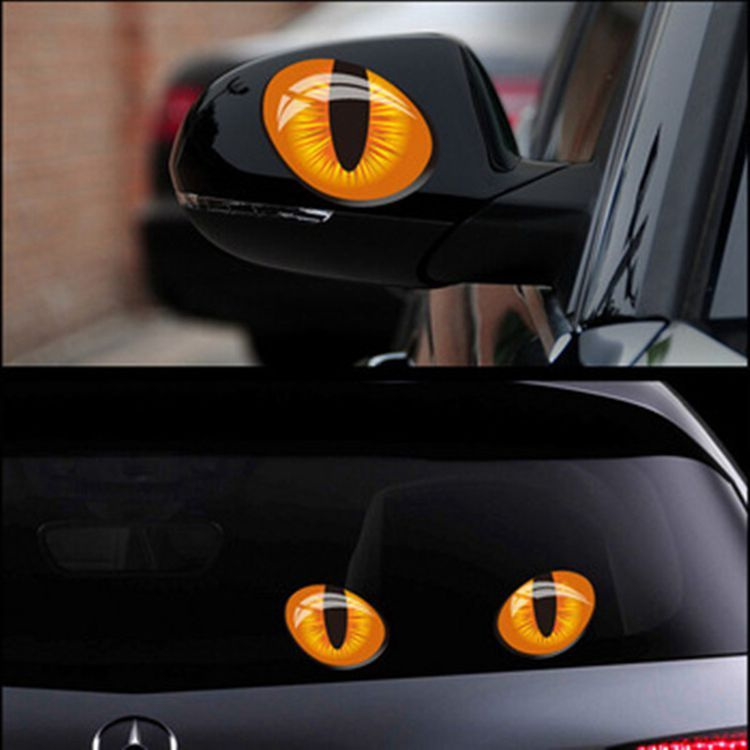 1 Pair Simulation Cat Eyes Car Stickers 3D Vinyl Decals On Cars Head