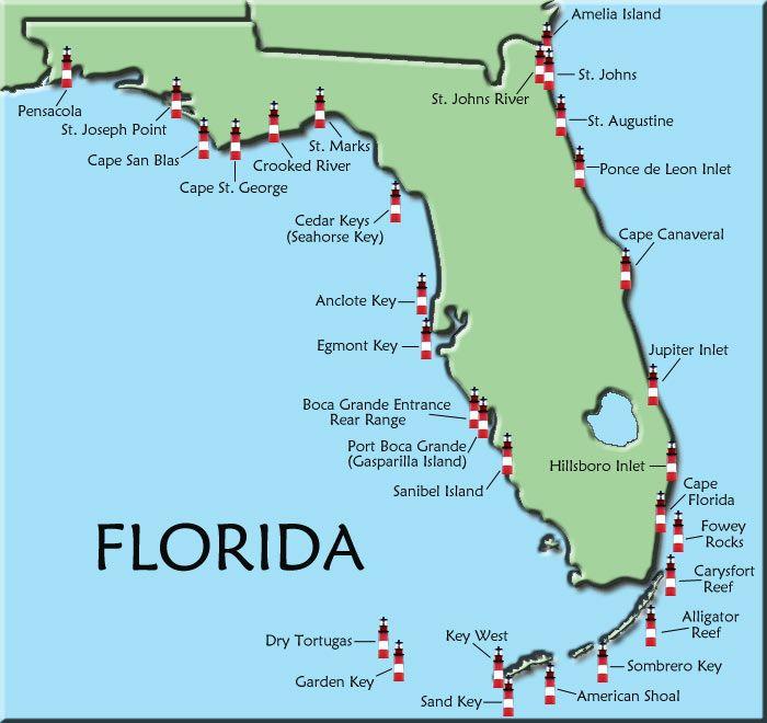 FLorida Map Of Lighthouses Lighthouses Shine Your Light On - Mapa florida usa