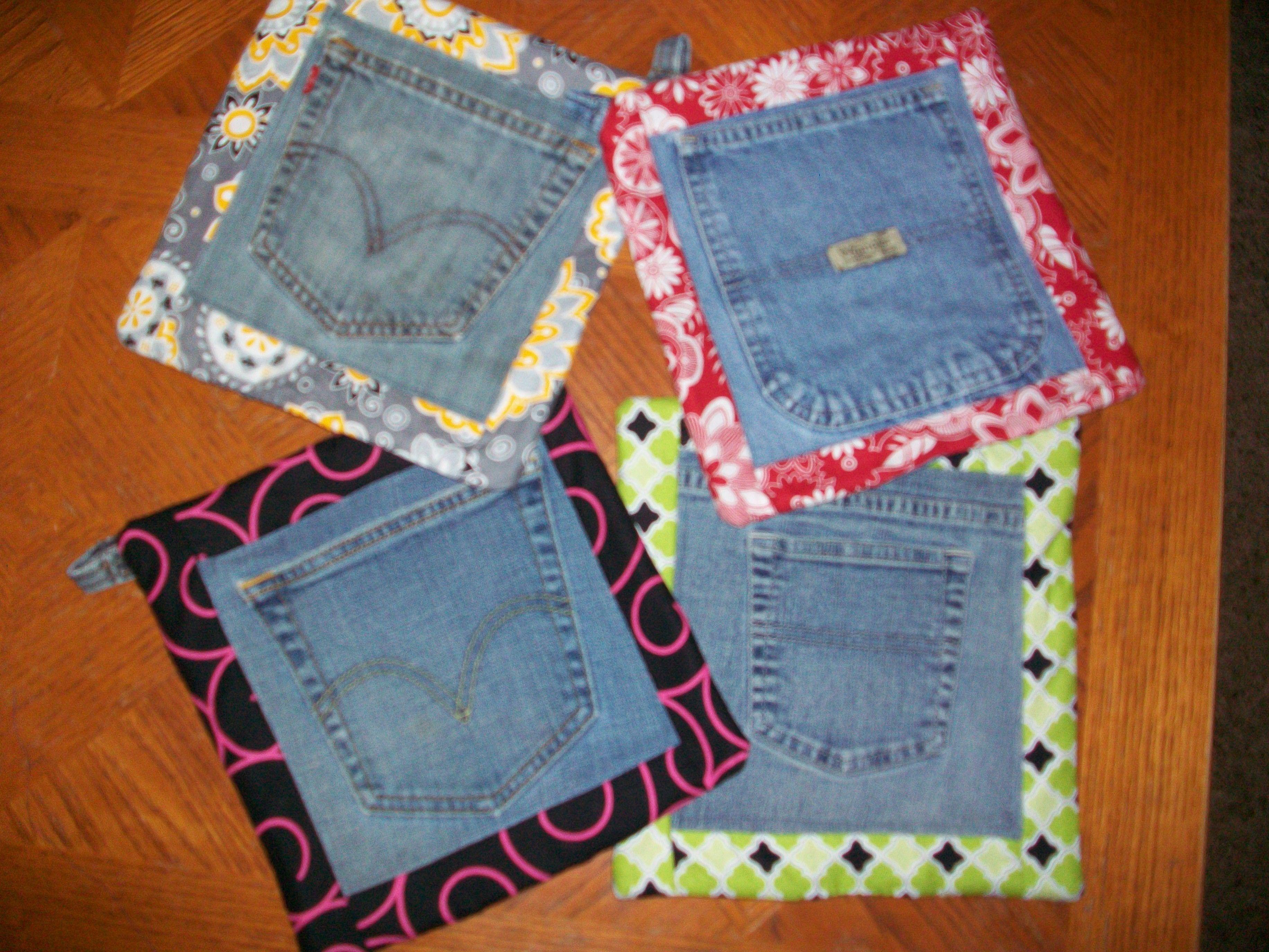 up cycled jeans into potholders n hen pinterest n hen. Black Bedroom Furniture Sets. Home Design Ideas