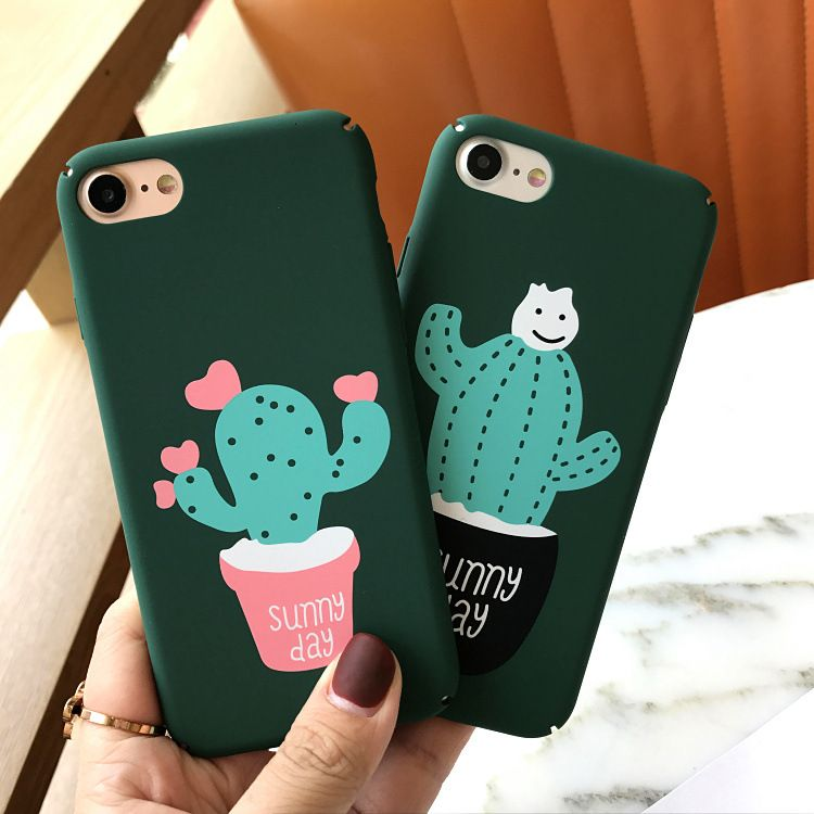 New Love Cactus Pottedplant Phone Case For Iphone 6s 7plus Frosted Protective Skin For Apple 6 7 Korea Couple Hard Pla Bff Phone Cases Phone Cases Iphone Cases