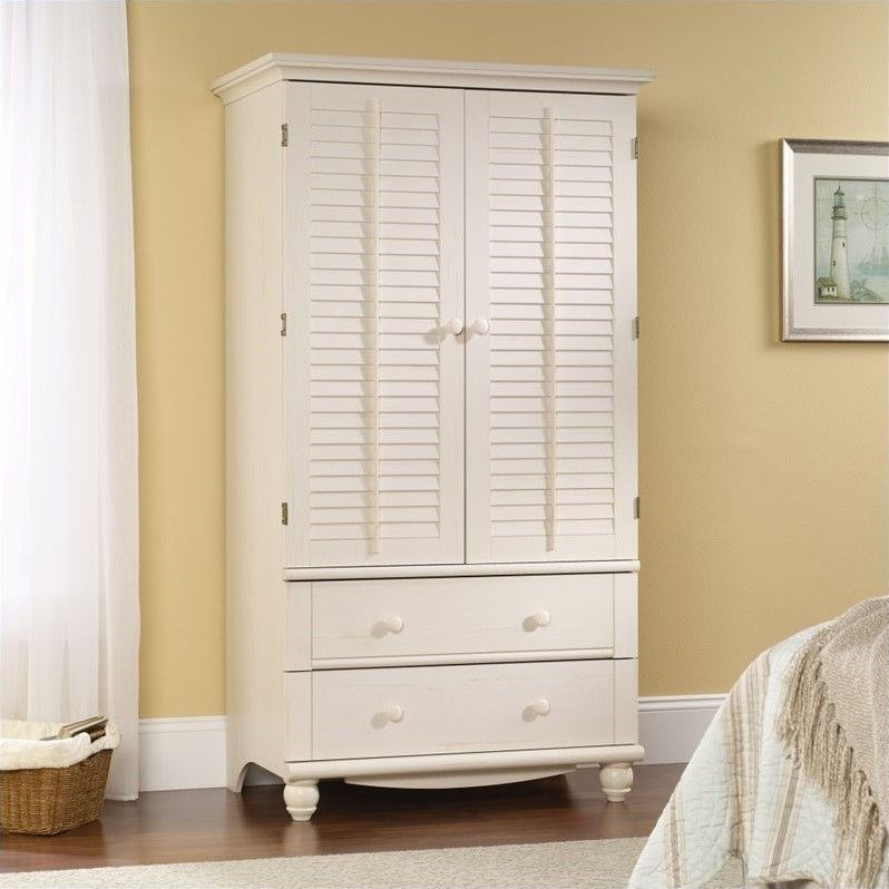 Best Sauder Harbor View Armoire In Antiqued White With Images 400 x 300