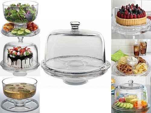 6 In 1 Cake Stand Clear Acrylic Dome Lid Salad Plate Punch Bowl Chip Dip Server Co Uk Kitchen Home