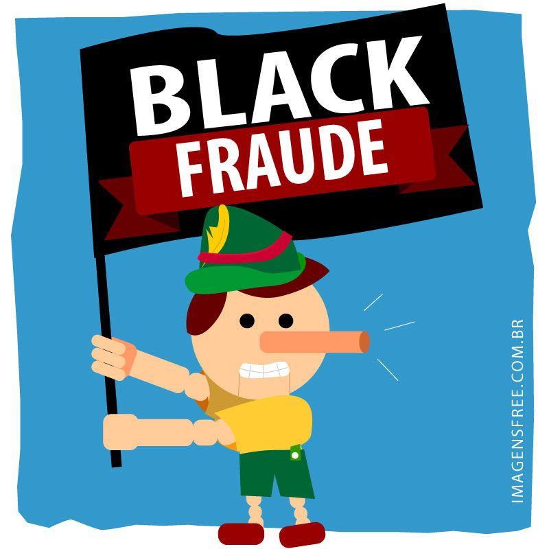 6a6cc3dc005 Black Friday Brasil. Denuncie os descontos mentirosos com esta ilustração Black  Fraude com o Pinóquio segurando uma bandeira Black Fraude. Imagens AQUI -