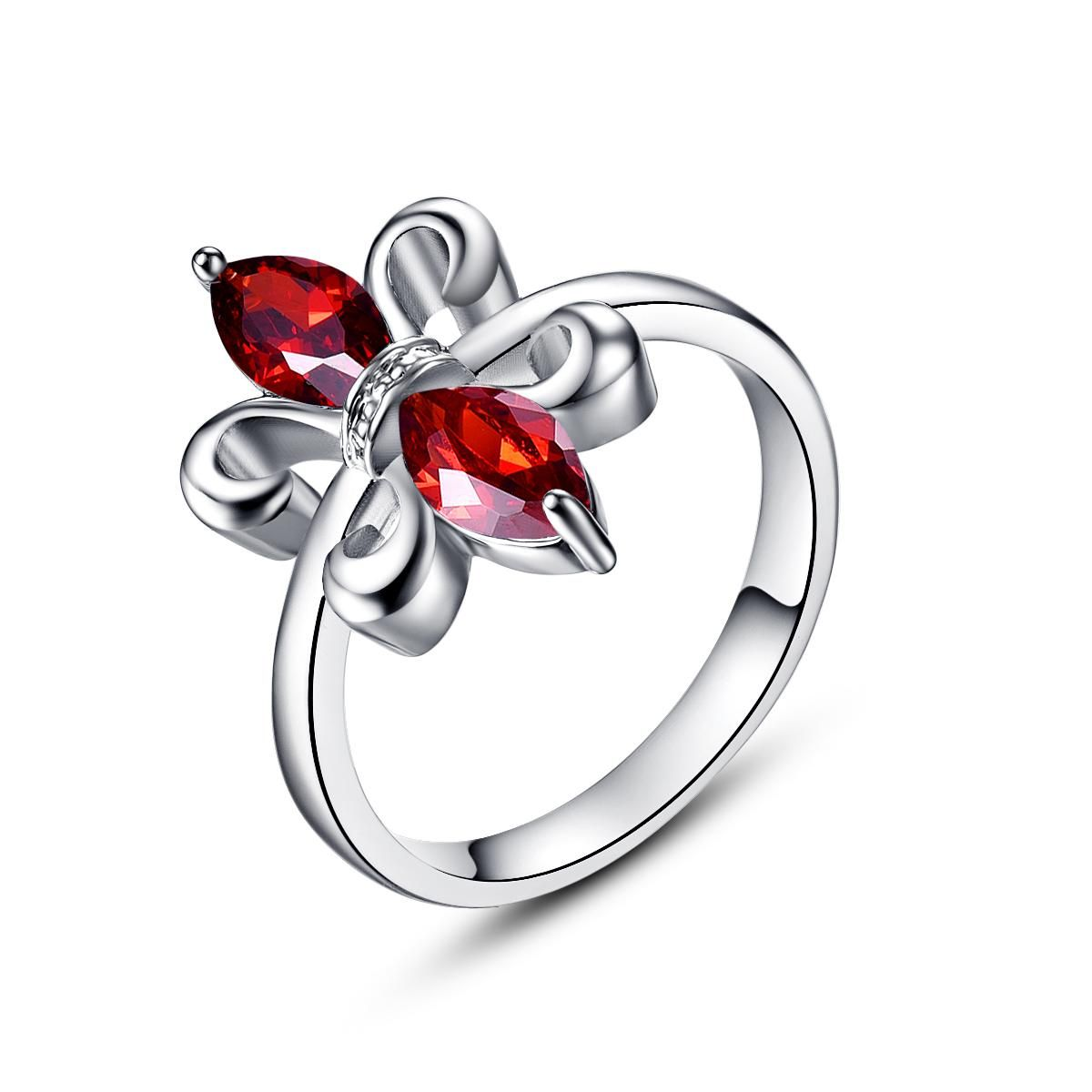 Visit to buy lingmei exquisite flowers countess ring red marquise