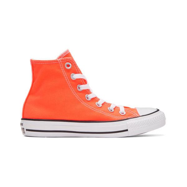 9400b2798f146e Converse Orange Classic Chuck Taylor All Star OX High-Top Sneakers ( 55) ❤  liked on Polyvore featuring shoes