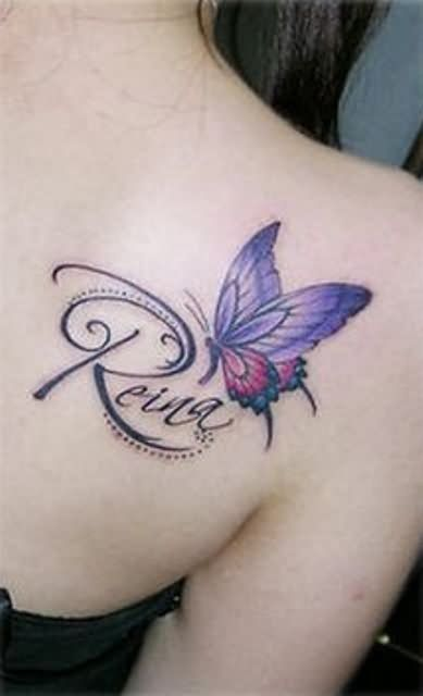 ce91f228a8231 Purple Butterfly Tattoo With Name | Tattoo ideas | Purple butterfly ...