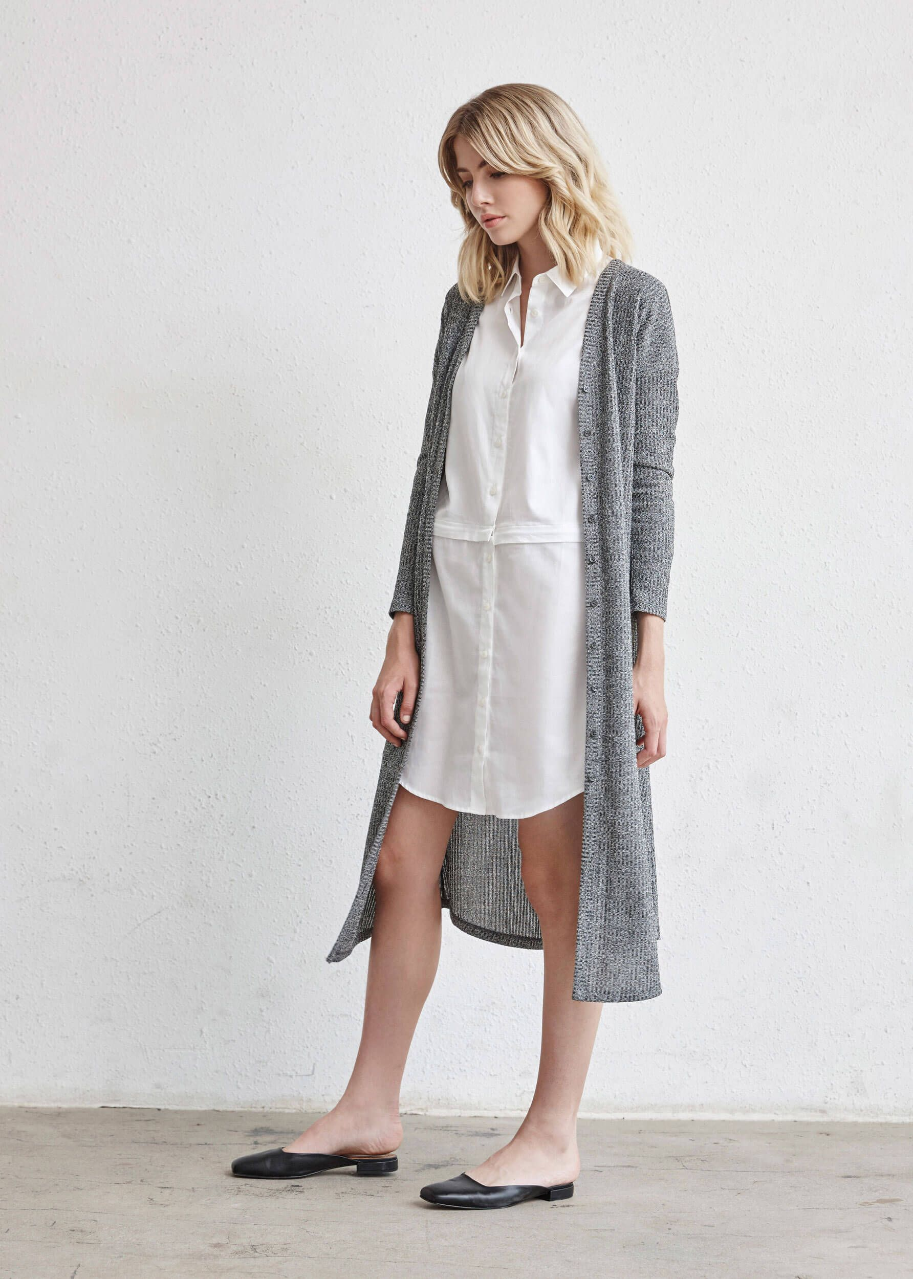 14080180a2f111 The Long Cardigan + The Convertible Shirt Dress   5 pieces = 30 outfits    The Minimal Capsule #capsulewardrobe #womensfashion #ethicalfashion # sweaters ...