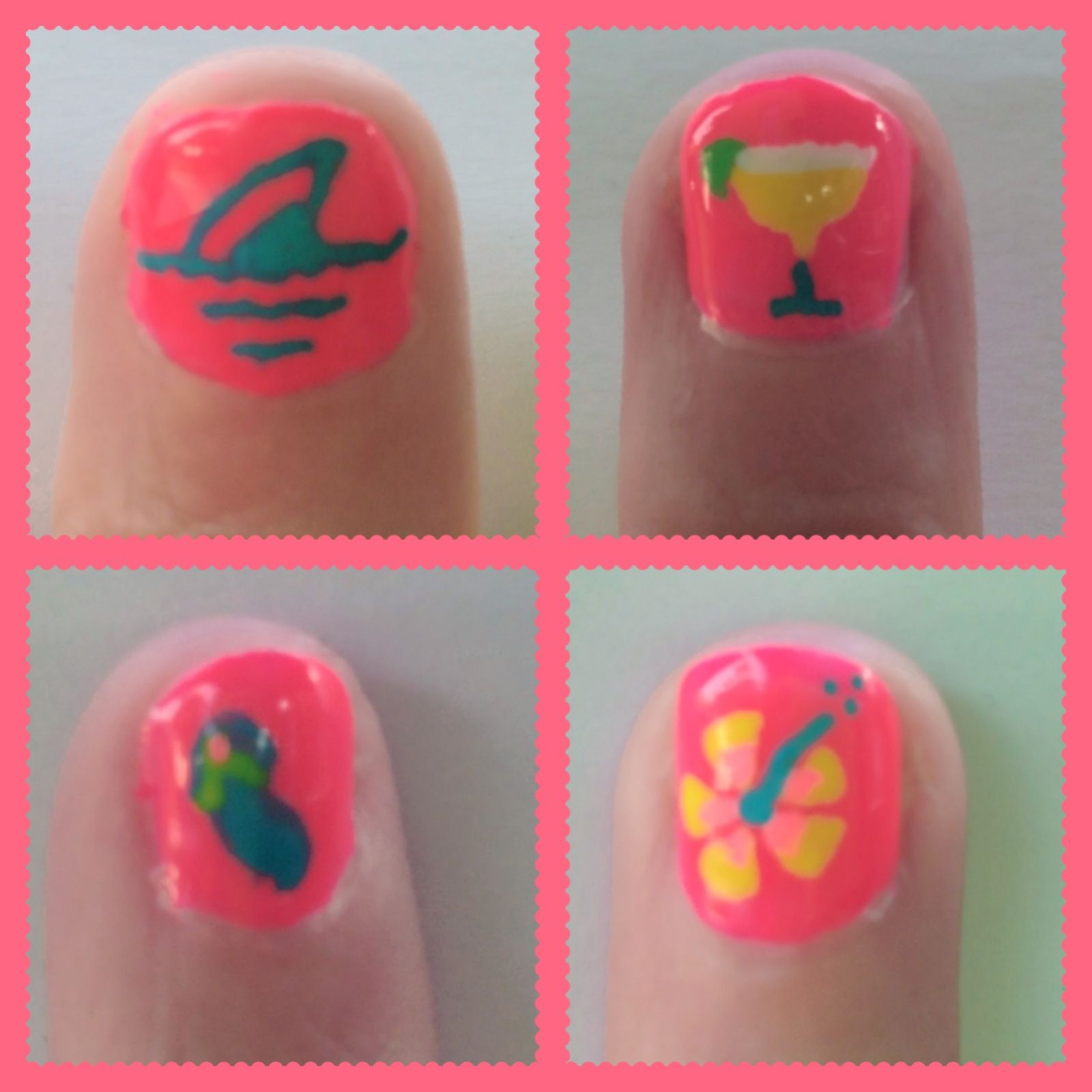 Getting ready for The Jimmy Buffett Concert. Parrot Head Nail Art ...