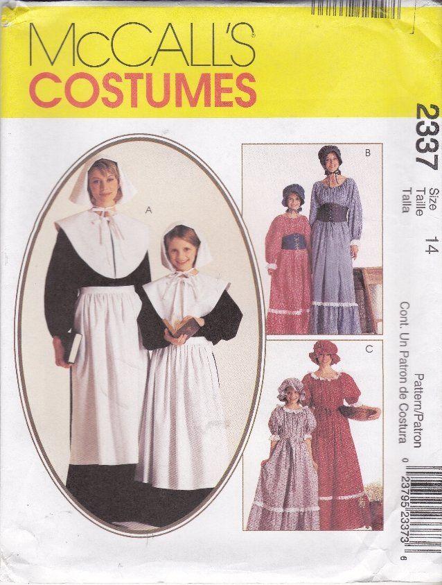 Girlu0027s Costume Pattern Pilgrim Colonial Historic Re-Enactment Size 7 8 McCalls 2337  sc 1 st  Pinterest & McCallu0027s Sewing Pattern 2337 Girlsu0027 Size 7-8 Pilgrim Costumes Dress ...