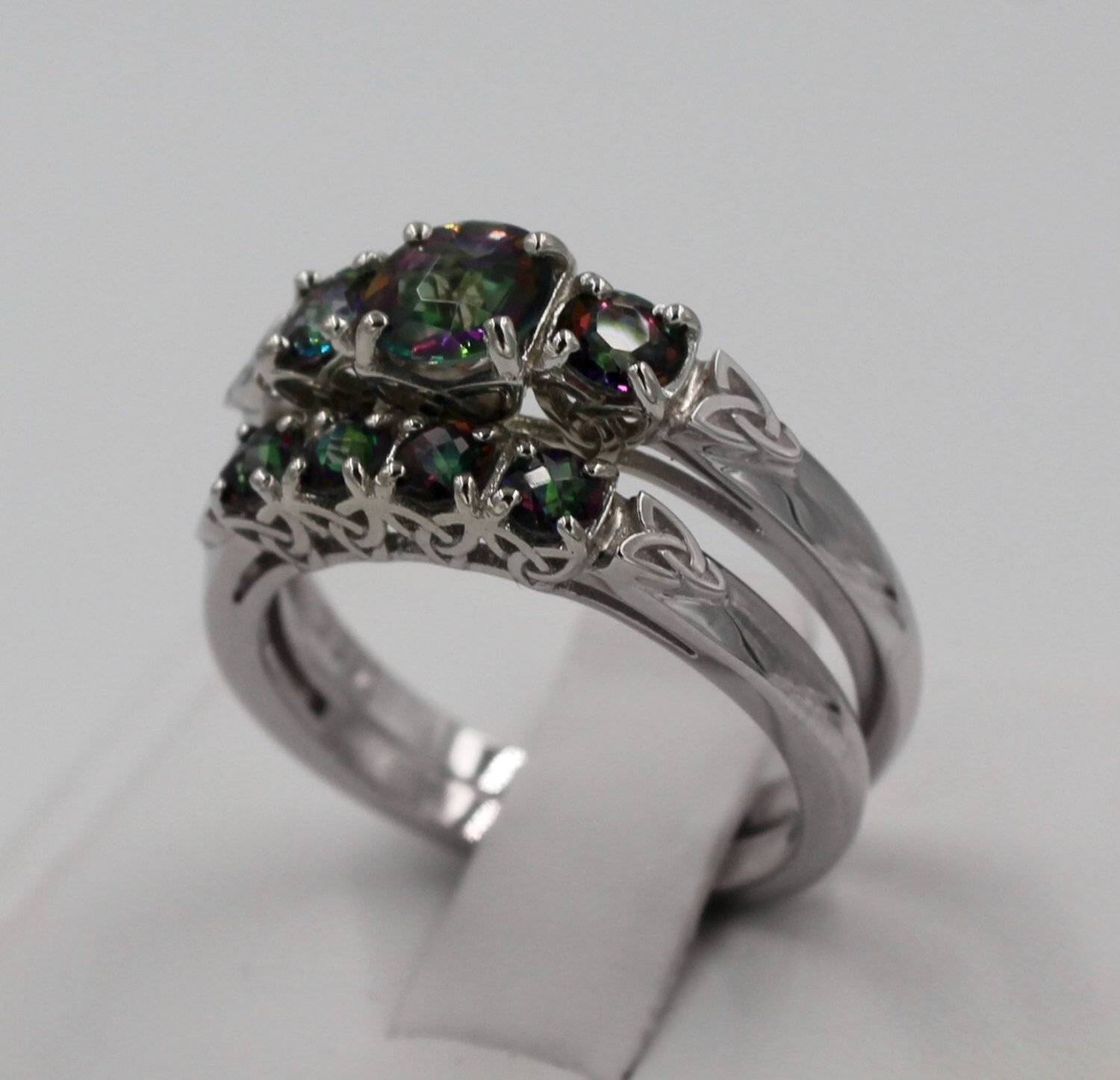 Celtic Engagement Ring and Band Set Round Cut Mystic Topaz Ring