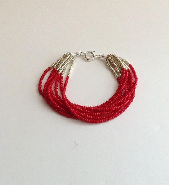 109cab8800cf bracelet perles de rocailles rouge et argent