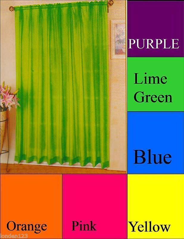 Bright Colored Sheer Sheers Pair Pairs Curtain Curtains Curtains