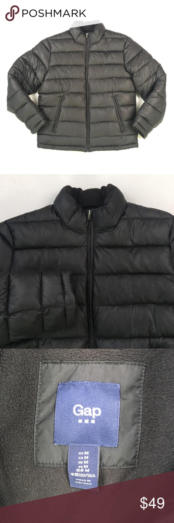 Gap Mens Black Puffer Jacket S C0810 Jackets Men Fashion Black Puffer Jacket Fashion [ 1740 x 580 Pixel ]