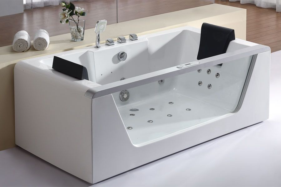 EAGO AM196HO 6 Foot Clear Rectangular Whirlpool Bath Tub for Two ...