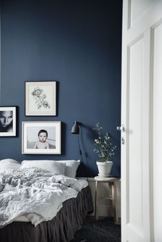 Dark Wall Color Combined With White Furniture Grey Black Accents Black And White Photography Blue Bedroom Decor Blue Bedroom Walls Bedroom Colors