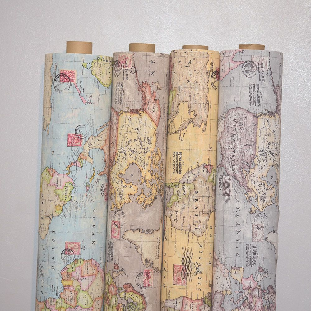 Vintage world map cotton linen fabric curtain upholstery 4 vintage world map cotton linen fabric curtain upholstery 4 colours 54 wide gumiabroncs Image collections
