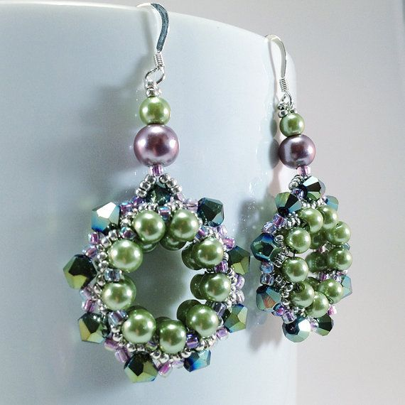 Green Iridescent Swarovski Crystal/Light Green Pearl ...