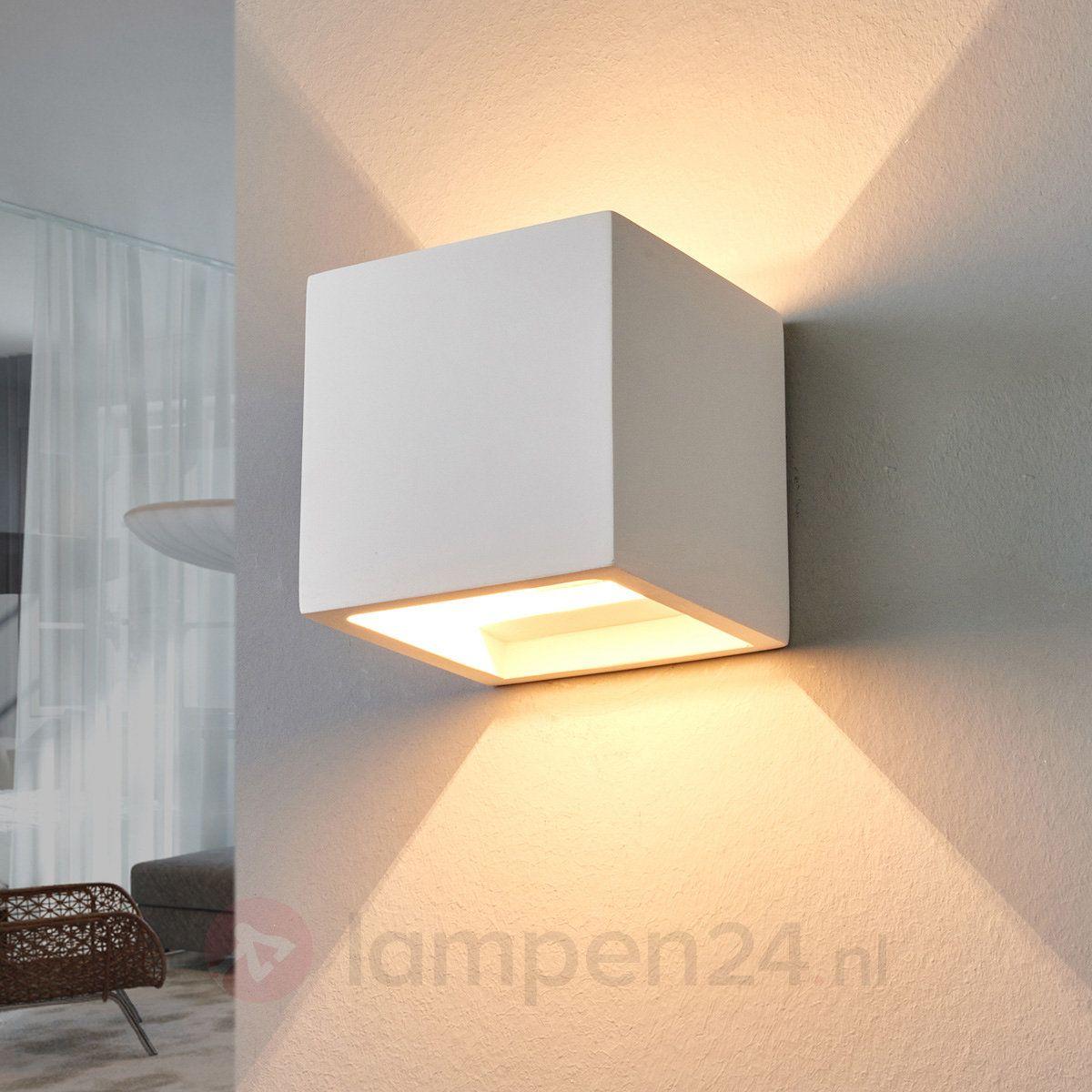 Bescheiden halogeen wandlamp Freja van gips | Lights