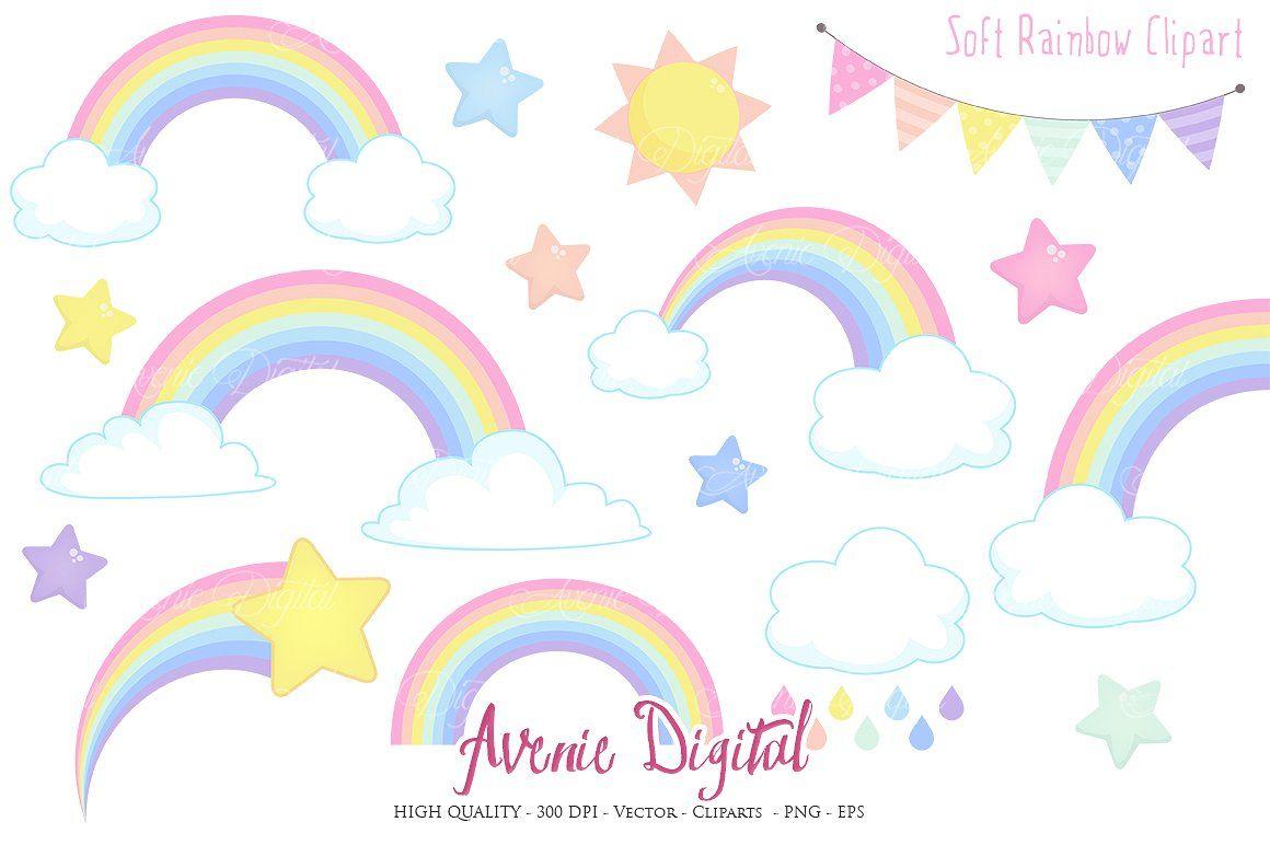 Pastel Rainbow Clipart Vector Rainbow Clipart Clip Art Pastel Rainbow