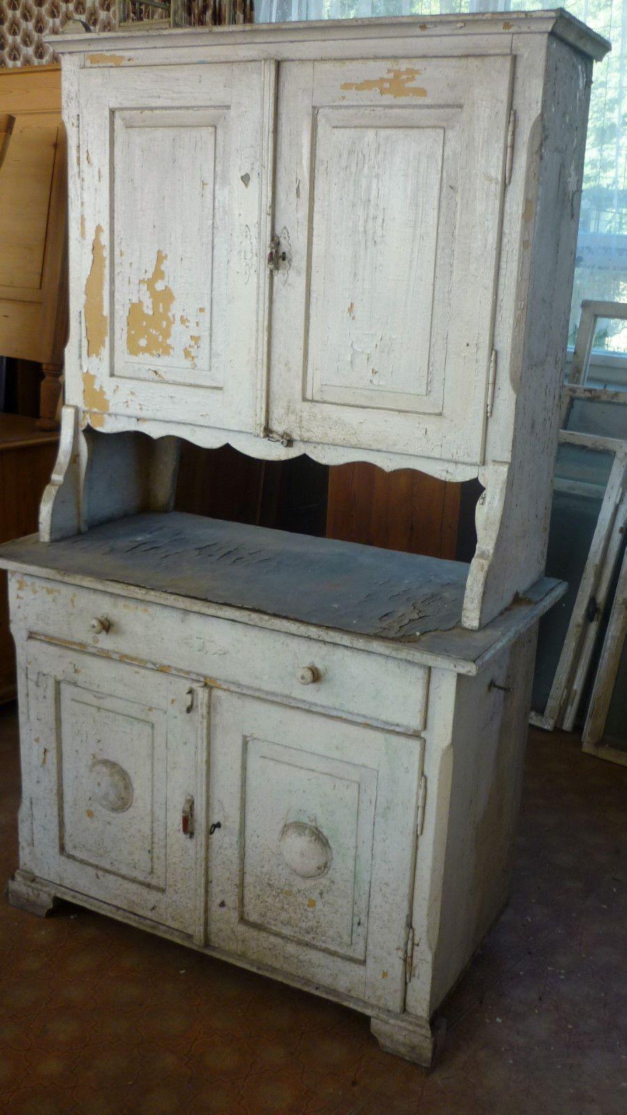 alter antiker küchenschrank weichholz schrank buffet küche weiß ...