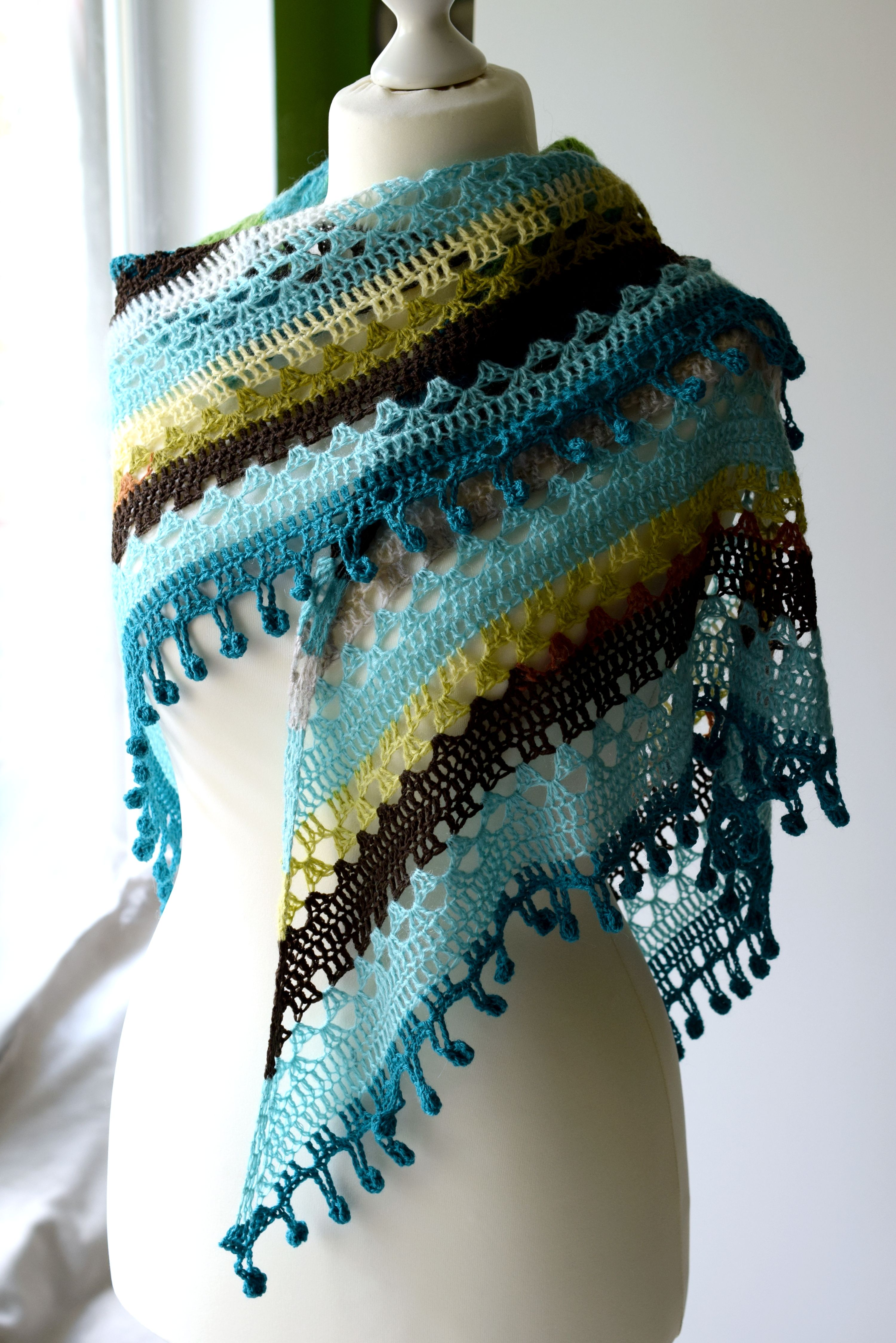 Mohair wrap triangle shawl, soft wool scarf, lace shawl, boho shawl in blue, green and brown stripes, crochet shawl for mothers day