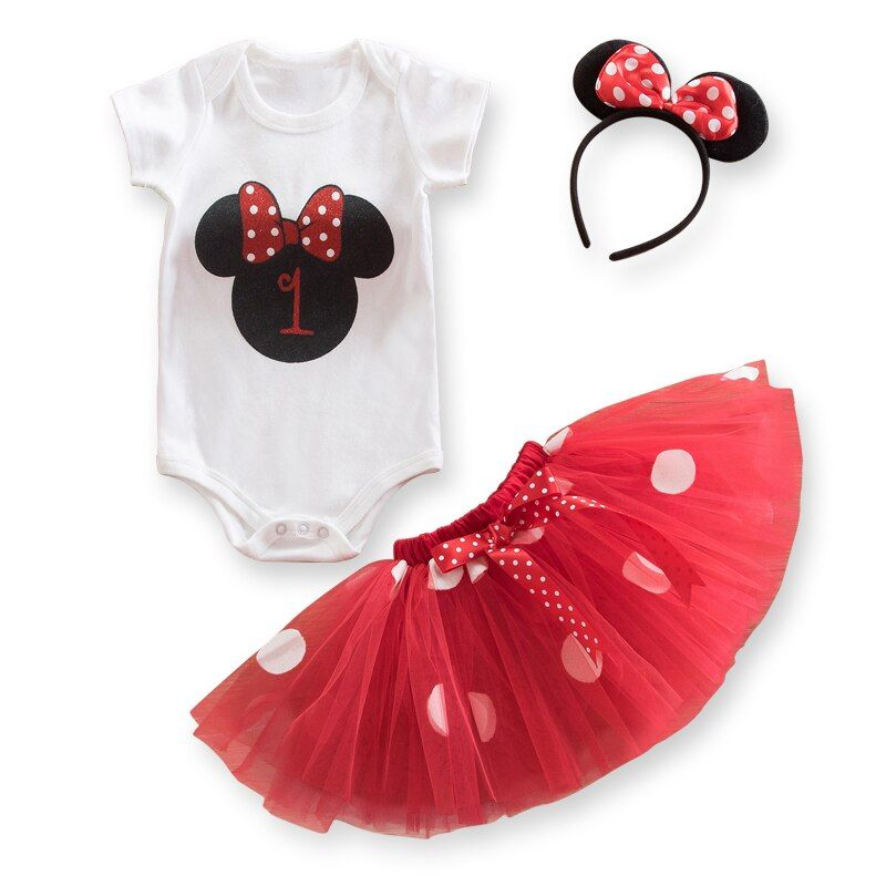 Ropa de niña,Minnie Dress Baby With Cute Mouse Headband 1 Year Girl Baby Birthday Dress 2nd B… – cute outfits