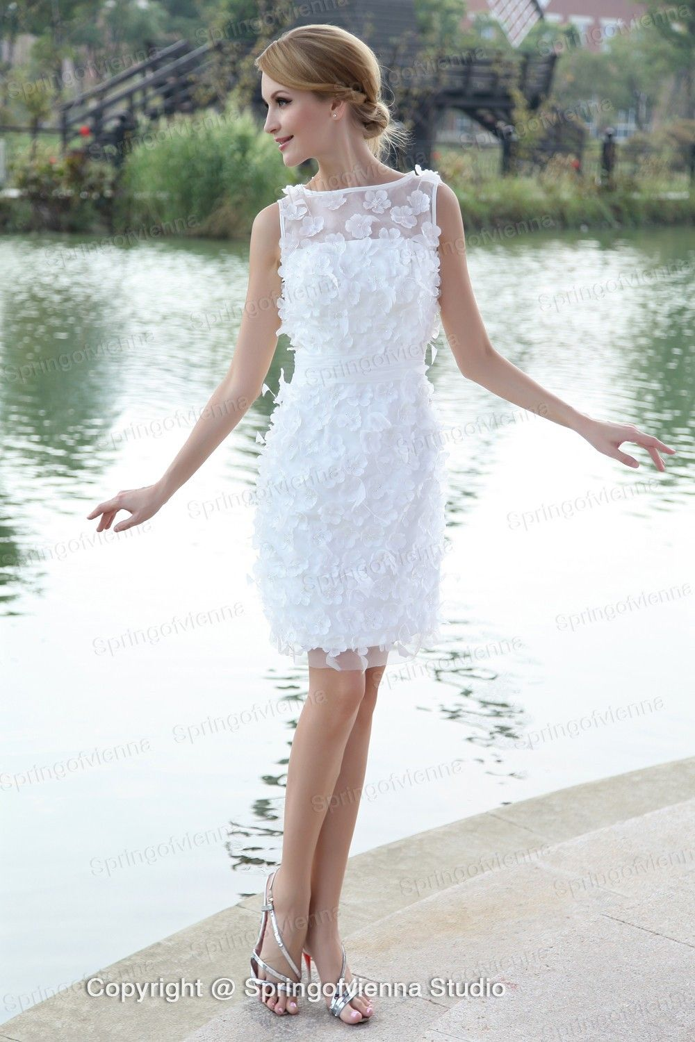 Short wedding reception dress  Click to Buy ucuc  Style Vogue Straps Bateau Neckline Short Length