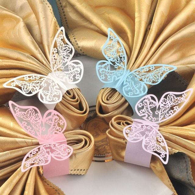 Napkin Folding Ideas For Weddings: 60pcs Butterfly Paper Napkin Rings For Wedding Party