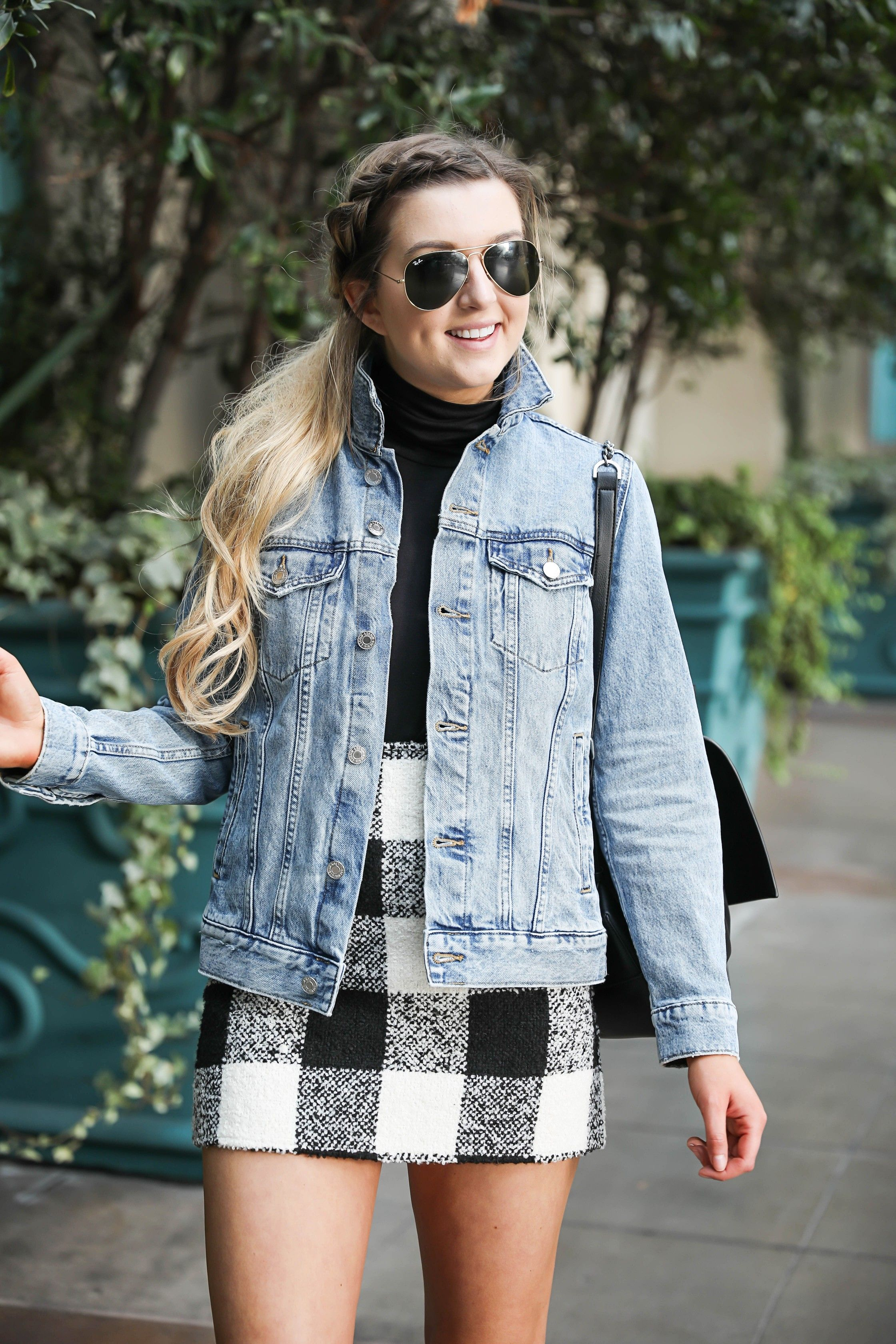 Jean Jacket And Plaid Skirt At The Venetian Hotel Casino In Las Vegas Details On Fashion Blog Daily Dose Of Charm By Lauren Lin Fashion Clothes Plaid Skirts [ 3360 x 2240 Pixel ]
