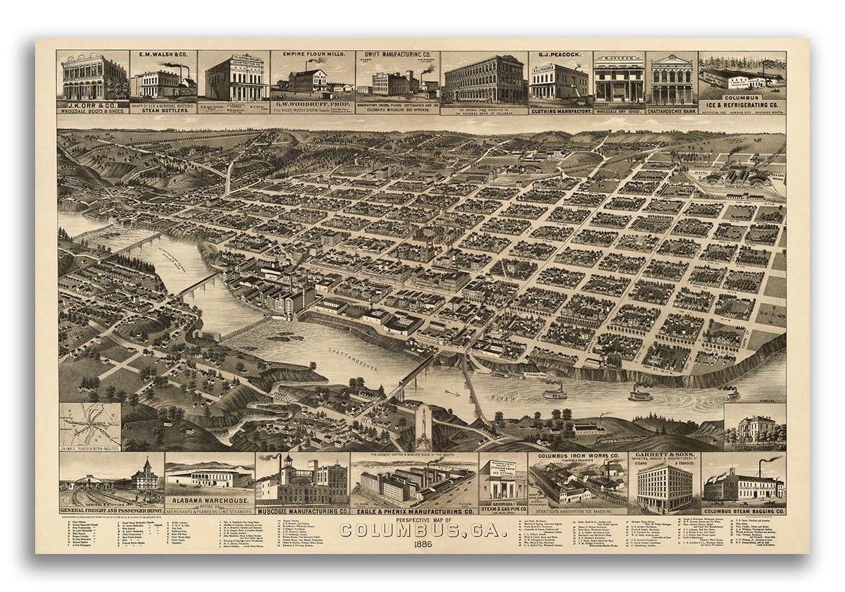 20x30 Bird/'s Eye View 1885 Phoenix AZ Vintage Style City Map