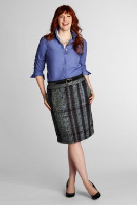 854922861bc27 Women s Plus Size Tweed Pencil Skirt from Lands  End -- would be cute for a  librarian Halloween costume and reusable.