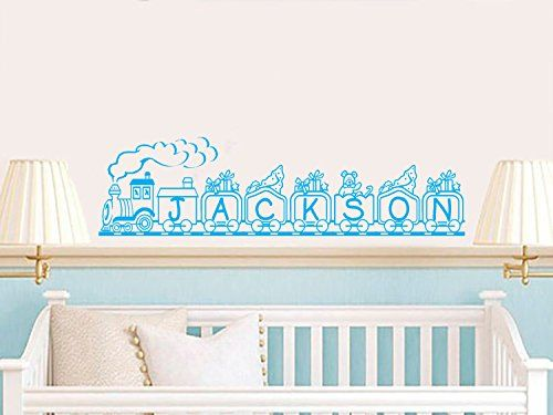 wall decals custom personalized name cartoon train name boys girls