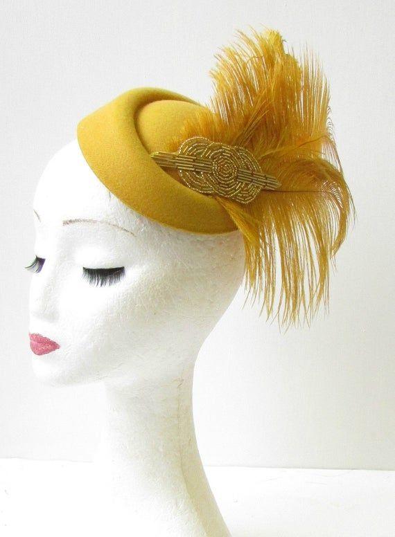 Gold Ostrich Feather Pillbox Hat Races Vintage Fascinator Ascot Headpiece 1661