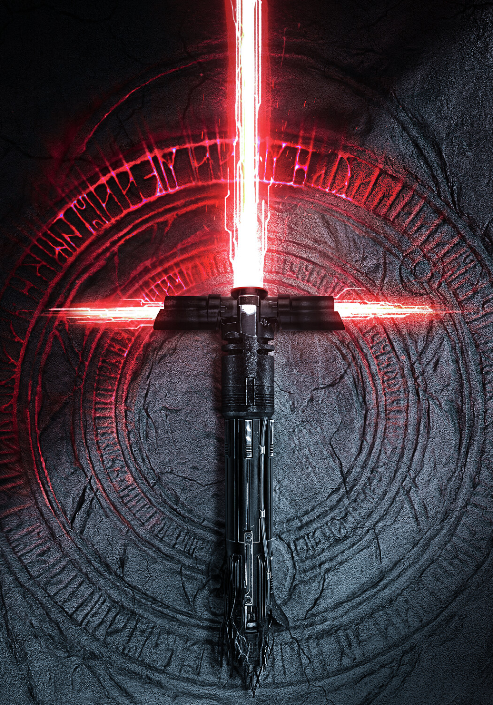 Kylo Ren Light Saber Uses A Single Cracked Kyber Crystal To Form A Serrated Blade And The Two Exhaust Ven Lightsaber Kylo Ren Lightsaber Star Wars Light Saber