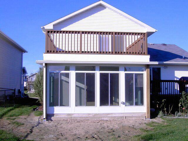 Balcony over sunroom copeland pinterest sunroom and for Building a sunroom on a deck