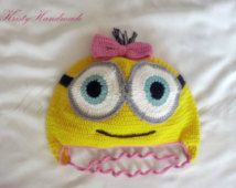 Crochet baby hat Minion yellow and pink girl bow strings