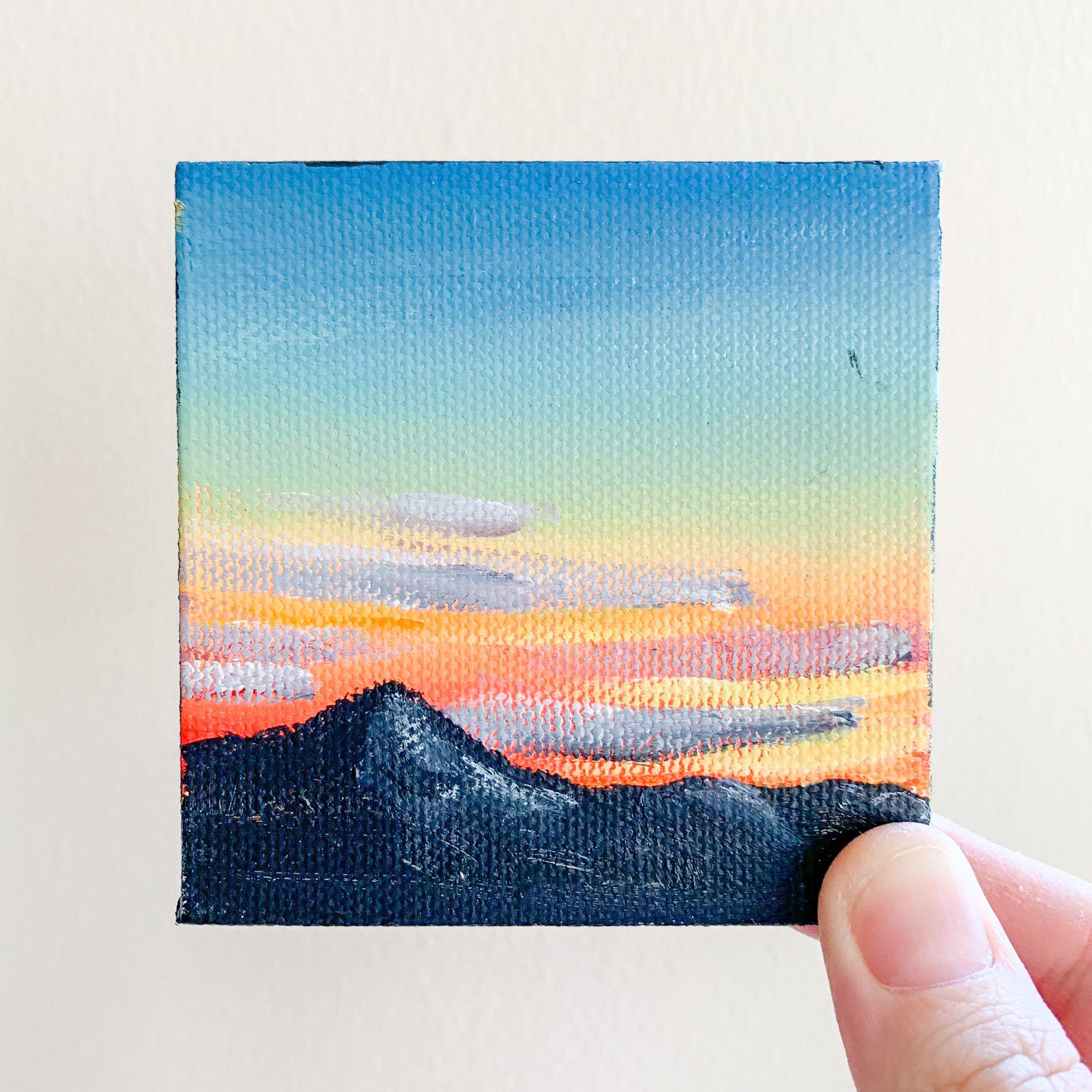 Mountain Sunset Landscape Original Acrylic Painting 3x3 Tiny Art In 2020 Small Canvas Art Canvas Art Painting Mini Canvas Art