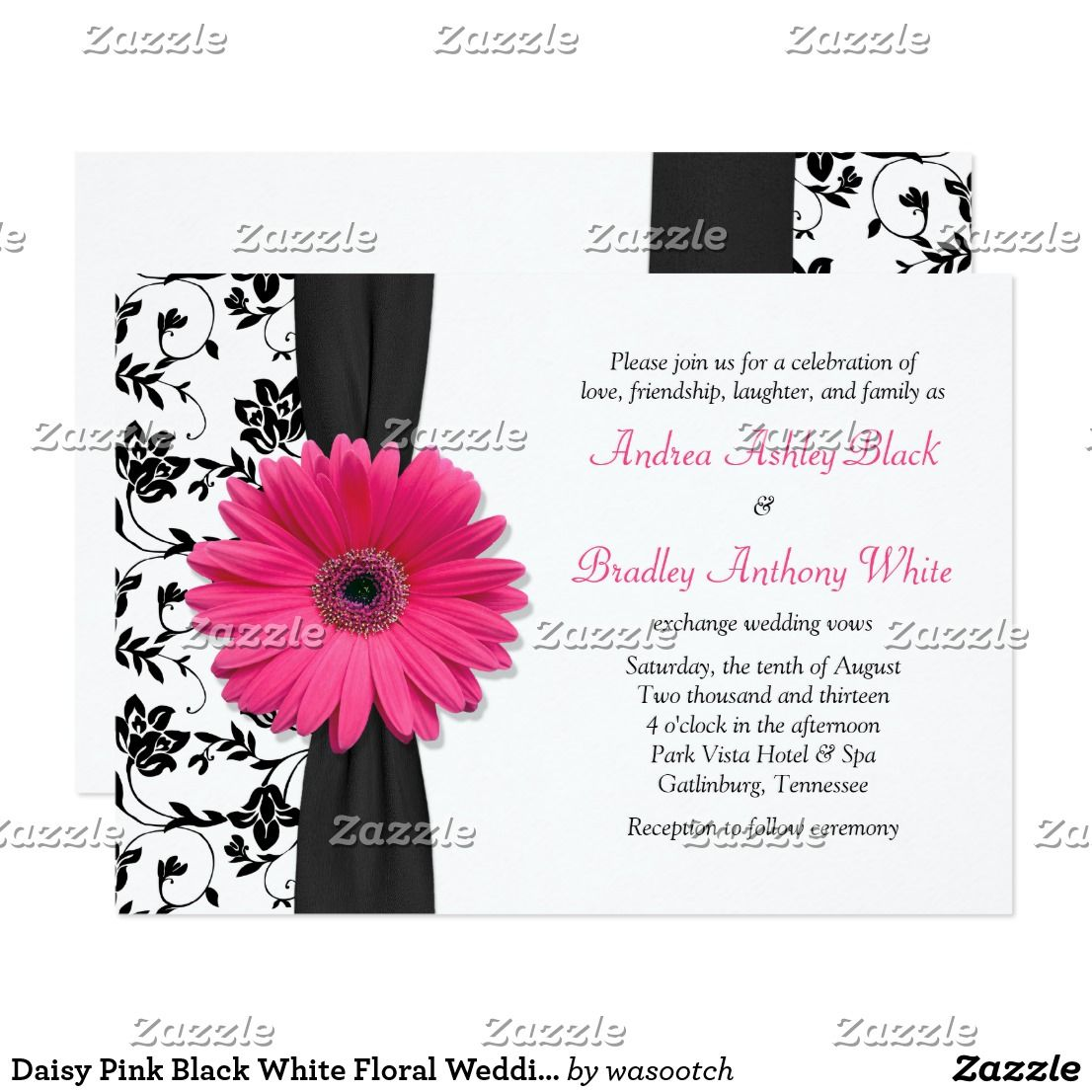 Daisy Pink Black White Floral Wedding Invitation Zazzle Com Floral Wedding Invitations Damask Wedding Theme Daisy Wedding Invitations