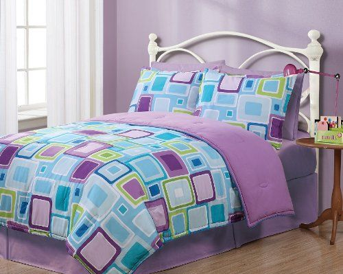 Twin Geo Aqua Square Reversible Comforter Set | Ease Bedding With ... : blue and purple quilt - Adamdwight.com