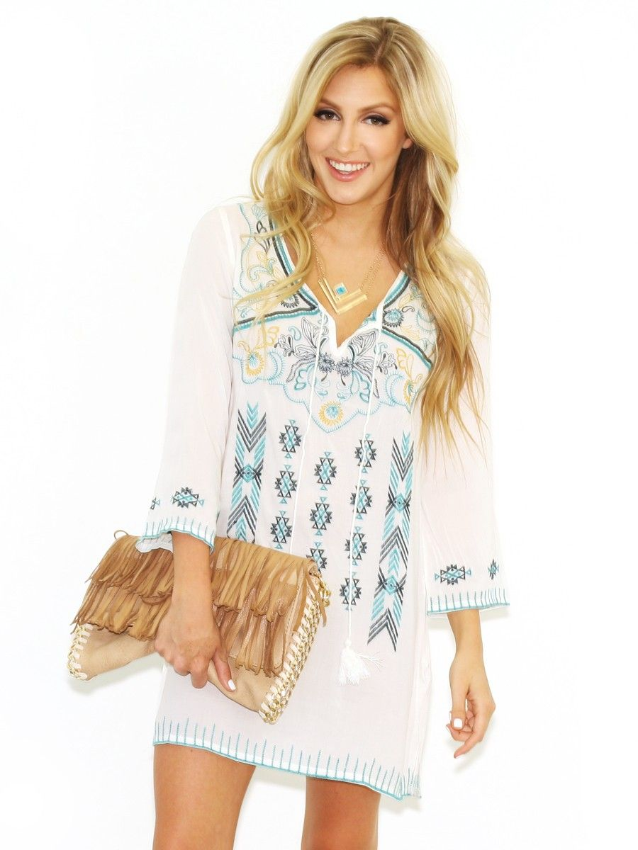 West Coast Wardrobe Natural Goodness Long Sleeve Dress in Off White