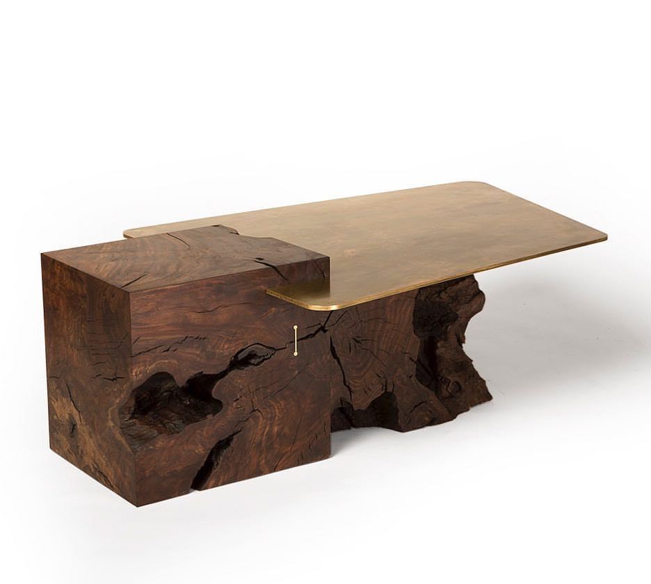 The Uncarved Block Coffee Table In Claro Walnut And Aged
