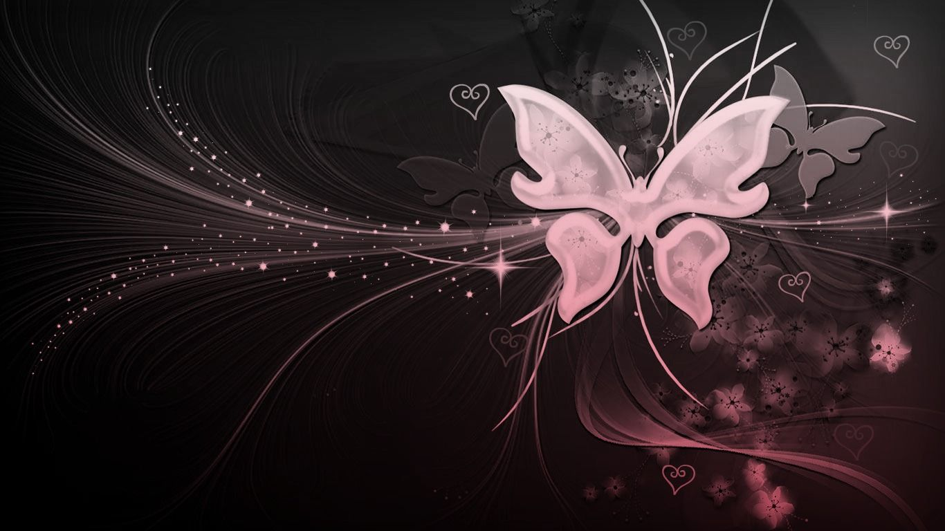 Black And White Pink Butterfly With Hearts By Missliss40 On